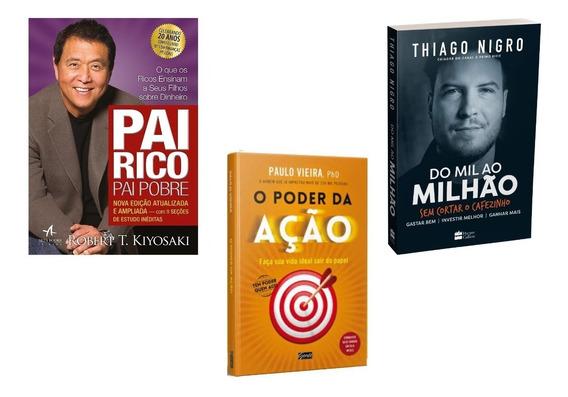 Livro Do Mil Ao Milhão+ Pai Rico Pai Pobre +o Poder Da Ação