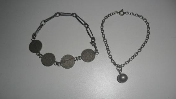 Rara Pulseira De Prata 90 Alpaca + 1 De Cupro Niquel-moedas