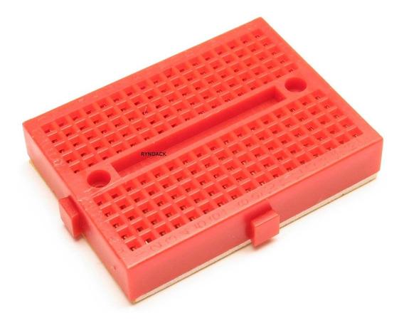 4 Peças * Mini Protoboard 170 Furos Vermelho Com Adesivo
