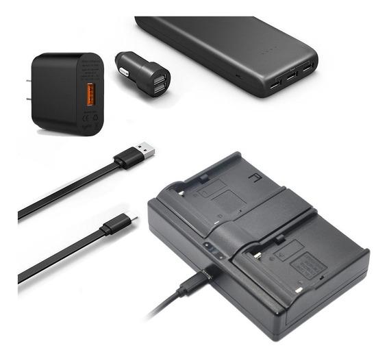 Carregador Duplo Usb - Bateria Sony Np-f970 F550 F570 P20