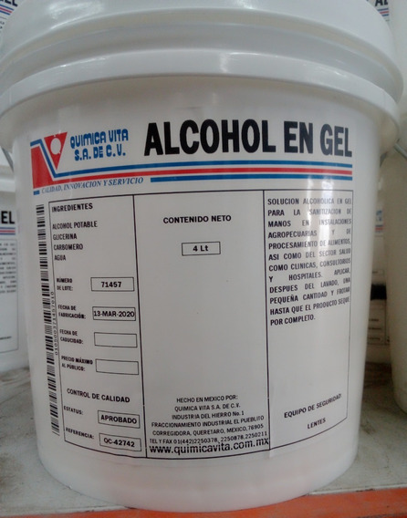 Alcohol En Gel 4 Litros