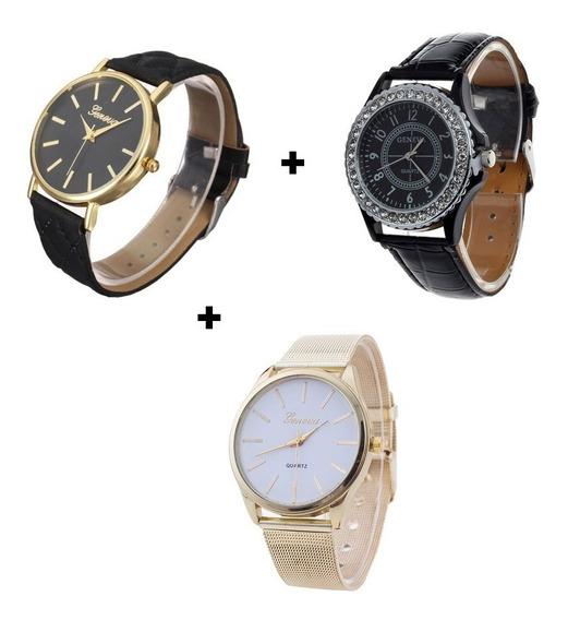 Kit Relógio Feminino Preto Dourado E Branco Pequeno Barato