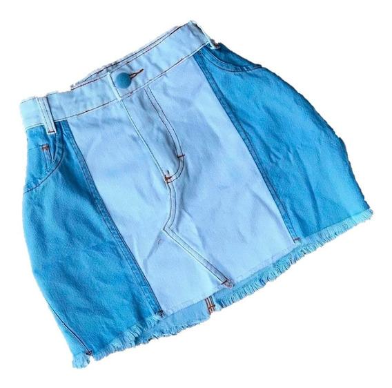 Saia Jeans Feminina Em Duas Cores Desfiada Barata