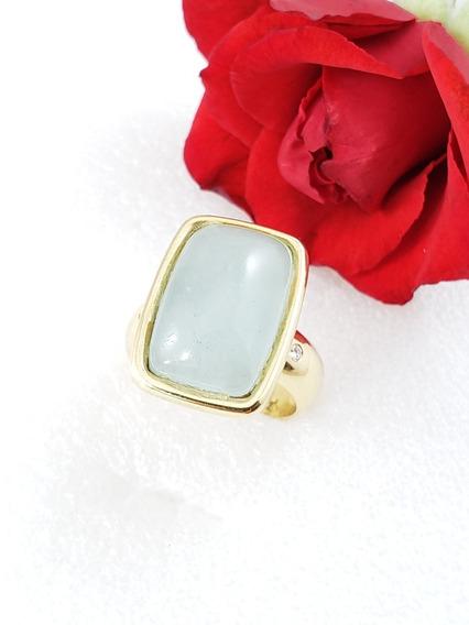 Hstern Anel Moderno Ouro Amarelo Com Pedra Da Lua Diamantes