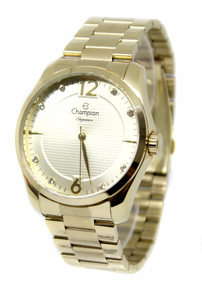 Relógio Feminino Champion Dourado Cn27607g Fretegratis