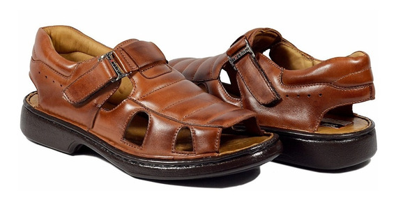 Sandálias Masculina Ortopedica Diabeticos Couro Palmilha Gel