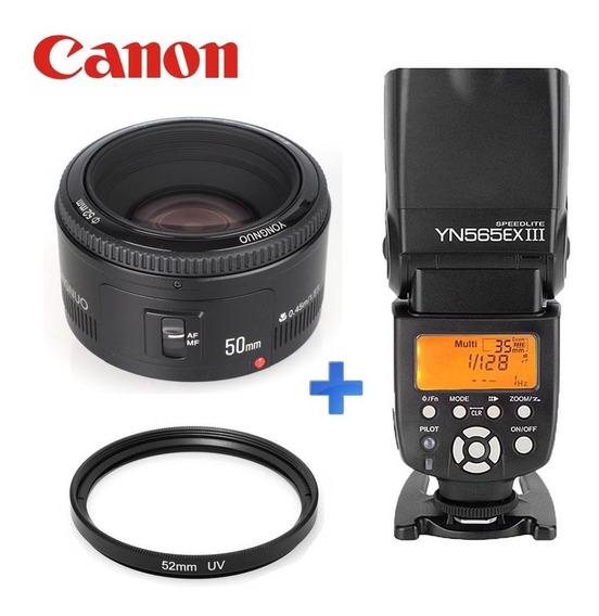 Combo Fotografia Trabalhar Lente 50mm + Flash P/ Canon
