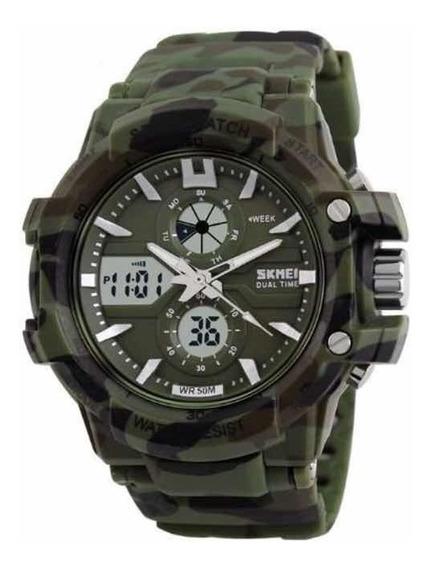 Relógio Anadigi Original Camuflado Militar Shock Calendário