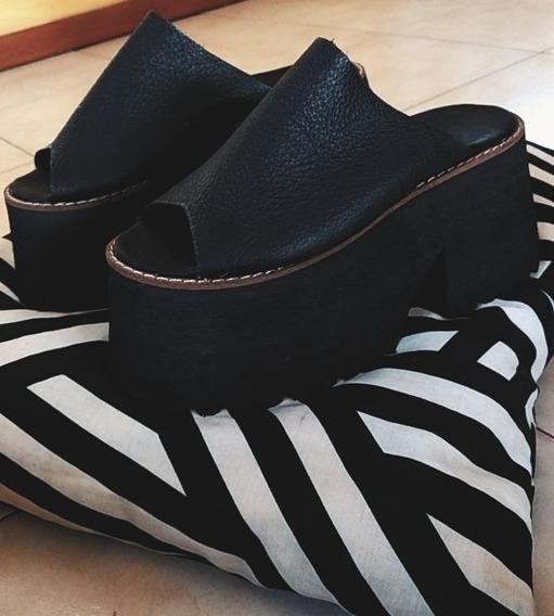 Zapatos Plataforma De Cuero 37