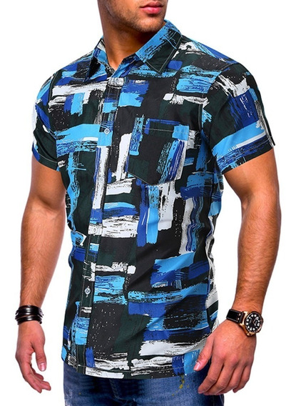 Camisa Manga Corta Impreso Pintura Aceite Óleo