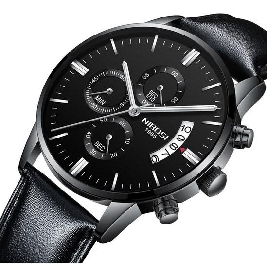 Relógio Nibosi Cronógrafo Luxo Pulseira Couro À Prova D