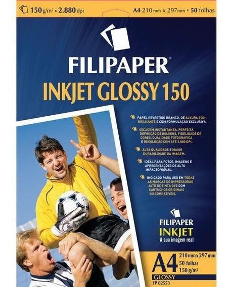 Papel Fotografico Inkjet A4 Glossy 150g Cx.c/50 Filipaper