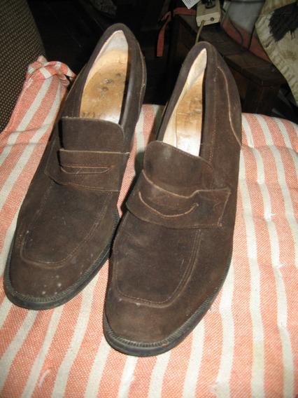 Zapatos Cerrados Marrones 40 Nobuk Gamuza Ocasines Taco 8,5c