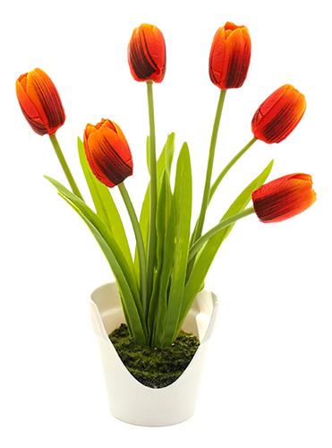 Imagen 1 de 10 de Cont Artificial Tulipán Exquisitas 6 Plantas En Maceta Para
