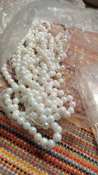 Lote De Perlas En Tres Modelos Blancas Y Rosa Viejo