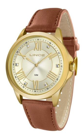 Relógio Lince Feminino Lrcj046l C3mx Dourado Couro Marrom