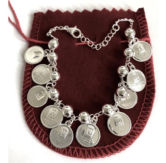 Bracelete Pulseira Feminina Dez Mandamentos Folheada A Prata