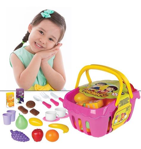 Imagem 1 de 4 de Brinquedo Cesta De Picnic Infantil Educativo Menina Rosa