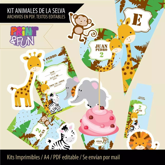 Kit Imprimible Animales De La Selva Etiquetas Golosinas 2x1