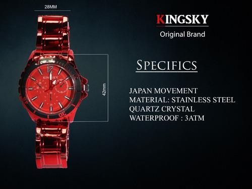Imagen 1 de 10 de Reloj Trendy Rojo Hombre Dama Moda Kingsky Acero Inoxidable Deportivo