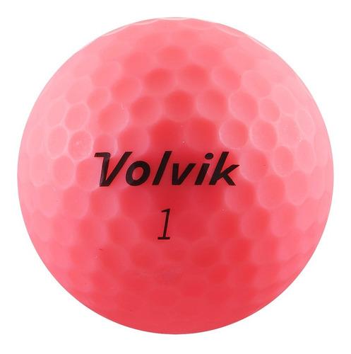 Imagen 1 de 4 de Pelotas Para Golf Volvik Vivid, 12 Pz. Color Rosa Mate.