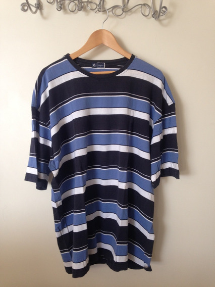 Camiseta Masculina Manga Curta Listrada / Tamanho Especial M