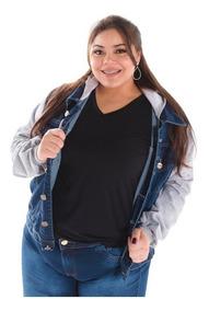 Jaqueta Jeans Plus Size Capuz Feminina