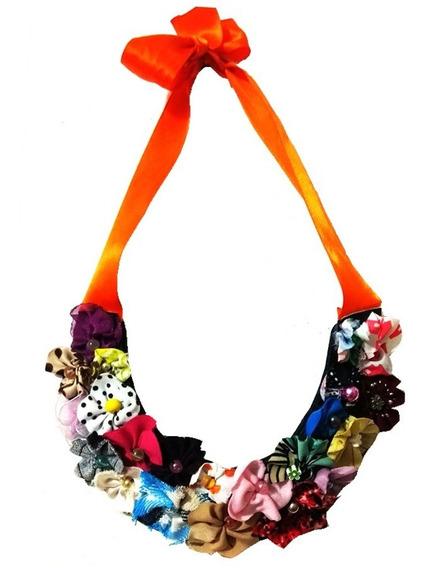 Collar Tipo Babero De Flores Tridimensionales Hecho A Mano