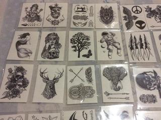 60 Cartelas De Tatuagem Temporária Preto E Branco