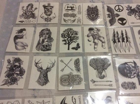 30 Cartelas De Tatuagem Temporária Preto E Branco