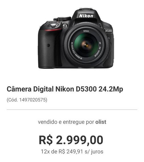 Câmera Nikon D5300 Usada Com Lente 18 55 Mm
