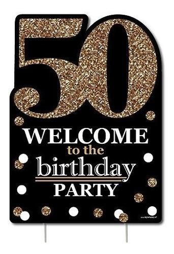 Imagen 1 de 7 de Adulto 50º Cumpleaños  Oro  Decoraciones De Fiesta  Fiesta D