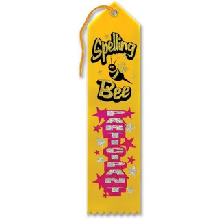 Spelling Bee Participant Award Ribbon 2 X 8 Party Accessory