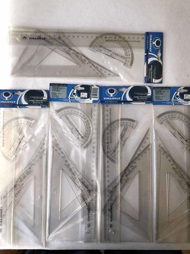 Juego De Geometría 30cms Tauro(1regla,2escuadr,1 Transport).