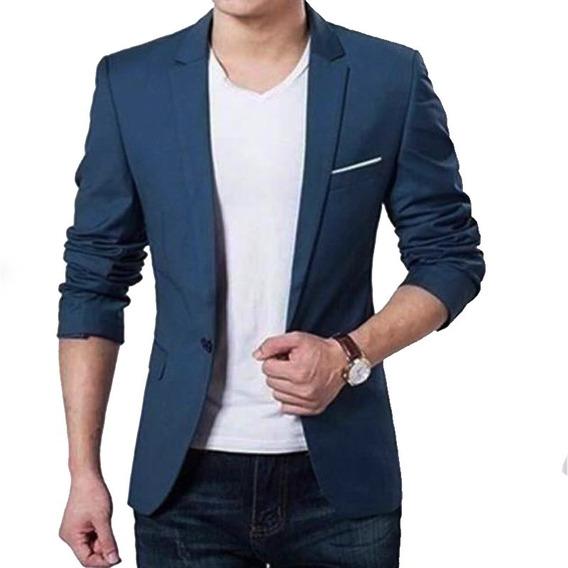 Saco Blazer Negro Elegante Hombre Slim Fit Moda Corea Azul