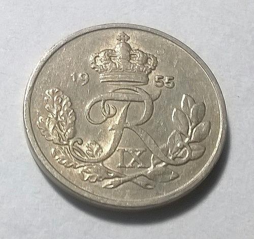 Dinamarca 10 Ore 1955 - Frederik Ix - Km#841.1