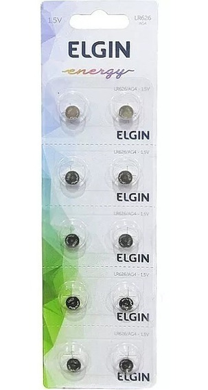 Bateria Elgin Lr626 Ag4 377 1.5v Cartela Com 10 Unidades