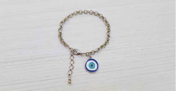 Pulseira Feminina Corrente Olho Grego Turco Azul Ajustável