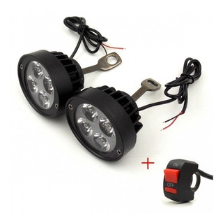 Faros Auxiliares Moto Led X2 Universales + Switch