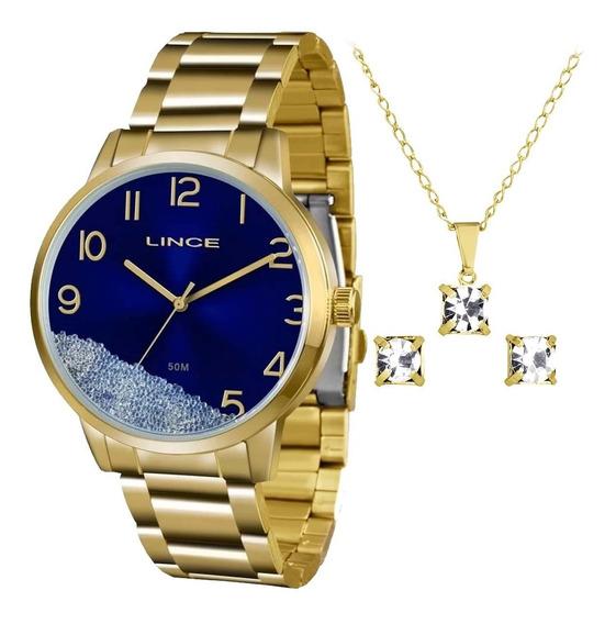 Kit Relógio Lince Feminino Dourado Lrg4379l D2kx Com Nota