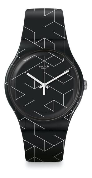 Swatch Suob161 Reloj De Pulsera Para Hombre Negro Con Blanco