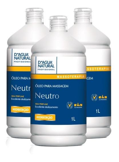 03 Óleo Para Massagem Neutro Sem Perfume 1l Dagua Natural