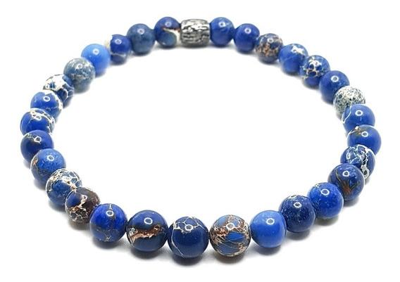 Pulseira Masculina Feminina Pedra Jaspe Azul Marinho Escuro