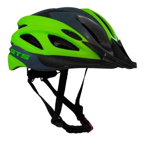 Capacete Com Sinalizador Led Bike Verde Cinza Inn Mould Gts