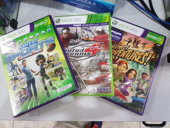 Kinect Sports 2 + Kinect Adventures+virtua Tennis 4 Xbox 360