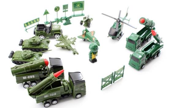 Kit Brinquedo Decoração Veículos Militares Miniatura 19 Pçs