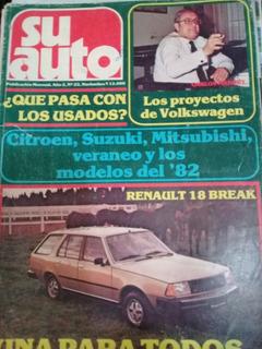 Revista Su Auto N 22 Año 1982 Citroen Suzuki Renault La Plat