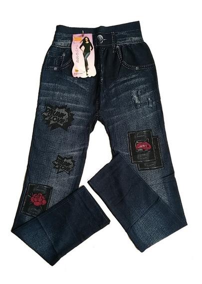 Leggins Tipo Jeans Pantalón Dama Tela Gruesa Alto De S A Xl