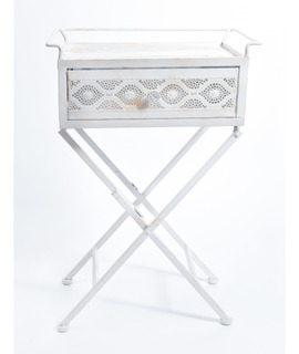 Mesa Metal Plegable Con Cajón Blanco