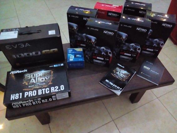 6 Placas Amd 8gb + Asrock + Evga 1000w + Intel I3 + Risers